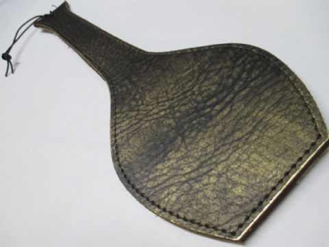 Brown/Distressed Gold Leather/Fur Coppa Paddle (Code EK7)